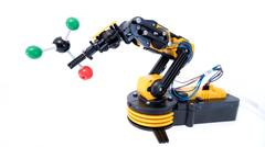 Plastic model of industrial robotics arm Robot manipulator Stock Photos