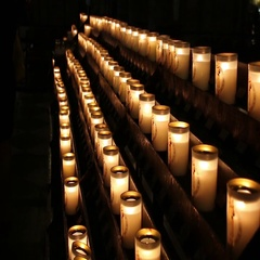 Prayer Candles In Notre Dame Cathedral, Paris France Stock Footage