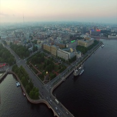 Aerial view of Saint-Petersburg embankment at the evening Stock Footage