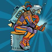 Retro robot astronaut in the thinker pose reads smartphone Stock Illustration