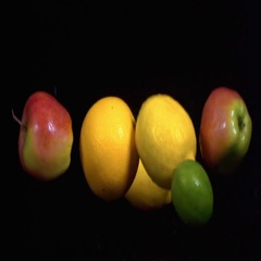 Fruits in slow motion on a black background Stock Footage