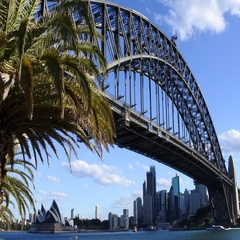 79 Sydney harbour bridge west side with Sydeny skyline Australia Stock Footage