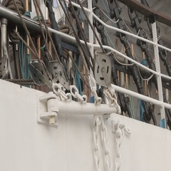 Pulley block. Detail of crane on passenger cruise tall ship sailing Stock Footage