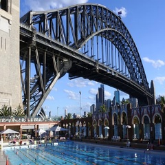 80 North Sydney Olympic Pool aginst Sydny Harbour Bridge Australia Stock Footage