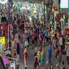 Night timelapse of people crowd at the Khaosan Road of Bangkok, Thailand Stock Footage