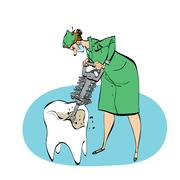 The dentist drills a tooth humorous illustration Piirros