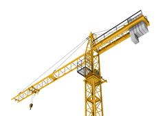 Rendering of yellow construction crane isolated on the white background Stock Illustration