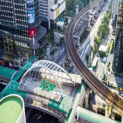 Timelapse of heavy transport interchange with car traffic in Bangkok, Thailand Stock Footage