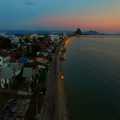 Aerial view sea beach of prachuapkhirikhan harbor southern of thailand Stock Footage