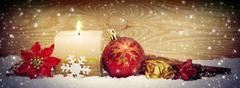 Christmas background with advent candle anad snow. Stock Photos