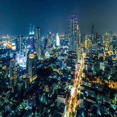 Night timelapse over the Bangkok city downtown, Thailand Stock Footage