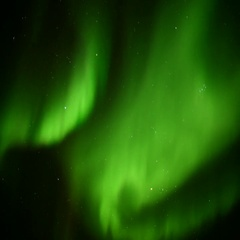 Green dancing northern lights on the sky  (4K) Stock Footage