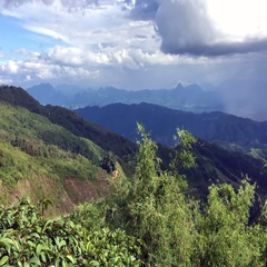 Scenery with mountain peaks and motion clouds Stock Footage