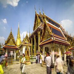 Timelapse of Grand Palace Temple complex with people in Bangkok, Thailand Stock Footage