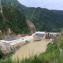 Hydroelectric power plant in vietnam Stock Footage