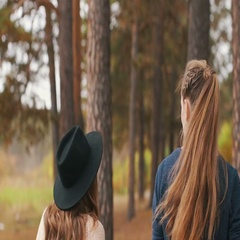 Two girls walk, talk and smile in the autumn forest Stock Footage