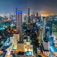 Night timelapse of city landscape of Bangkok city downtown, Thailand Stock Footage