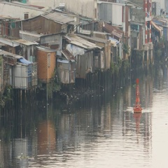 Slum on the river. Saigon. Vietnam. 5 View Stock Footage
