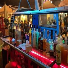 Street bar at night city Stock Footage