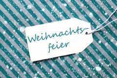 Label, Turquoise Paper, Weihnachtsfeier Means Christmas Party, Snowflakes Stock Photos