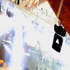 Blurred view of preparation to a concert Stock Footage