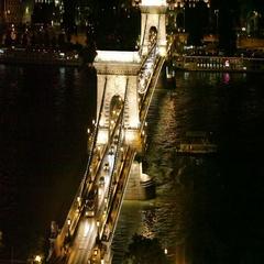 Szechenyi Bridge through Danube in Budapest Stock Footage