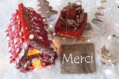Gingerbread House, Sled, Snowflakes, Merci Means Thank You Stock Photos