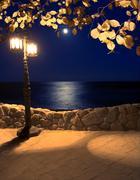 Moonlight on the coast lantern Stock Photos