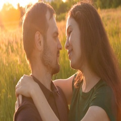Lovers enjoying each other, meeting in the Park at sunset. Stock Footage