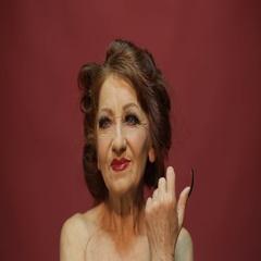 Bright makeup of an elder woman Stock Footage