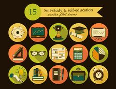 Self study and education themed icons set Stock Illustration