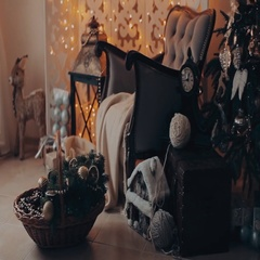 Christmas interior with armchair and a tree in shades of gray Stock Footage