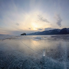 4K. Sunset on the frozen Lake Baikal, Elenka island. Irkutsk region, Russia. Stock Footage