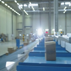 Parcels are Moving on Belt Conveyor at Post Sorting Office. Box POV. Time-Lapse. Stock Footage