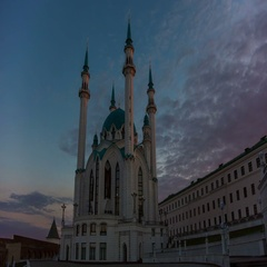 Mosque Kul Sharif in Kazan at sunrise Stock Footage