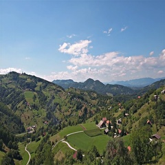 Slovenian green landscape with hills and valley aerial shot 4K Stock Footage