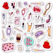 Cosmetic stickers vector set. Stock Illustration