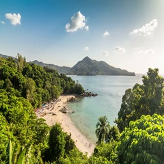 Timelapse of small tropical beach with rocks at the Phuket Island, Thailand. Stock Footage