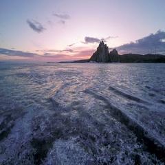 4K. Sunrise over the island of Olkhon, Lake Baikal, Irkutsk region, Russia.  Stock Footage