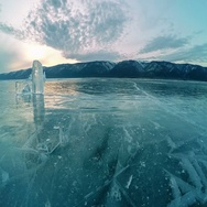 4K. Sunset on the frozen Lake Baikal, Elenka island. Irkutsk region, Russia.  Stock Footage