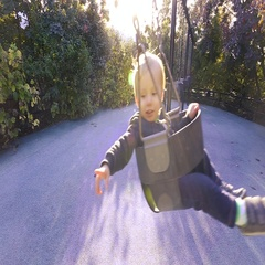 Video of Caucasian Baby Boy on Swings in Brooklyn Park on Beautiful Fall Day Stock Footage