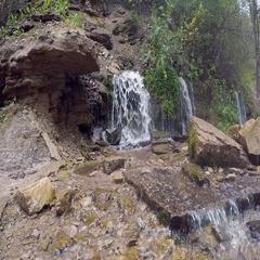 Slovenian waterfalls in Izborsk, Pskov region of Russia Stock Footage