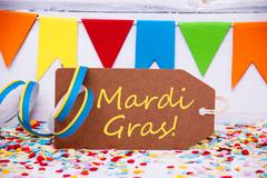 Party Label With Streamer, Text Mardi Gras Stock Photos
