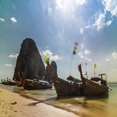 Timelapse on the beach with long-tail boats at the Krabi, Thailand. Stock Footage