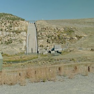 Navajo Dam Spillway and Sign Stock Footage