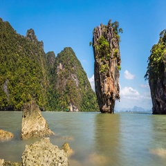 Timelapse of the rock at the James Bond Island, Thailand. Stock Footage