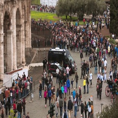 A really busy place in the city of Rome - The Colosseum Stock Footage