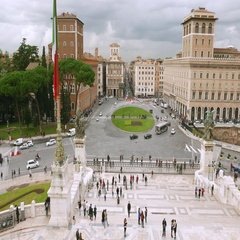 Famous Venetian Square in Rome called Piazza Venezia - view from National Stock Footage