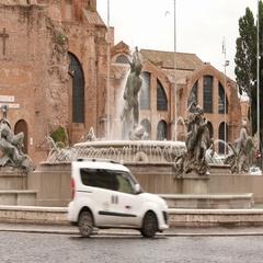 Naiadi Fountains at Reppublica square in Rome Stock Footage