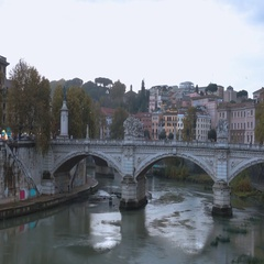 Beautiful Angels Bridge over River Tiber in Rome to Castel Sant Angelo Stock Footage